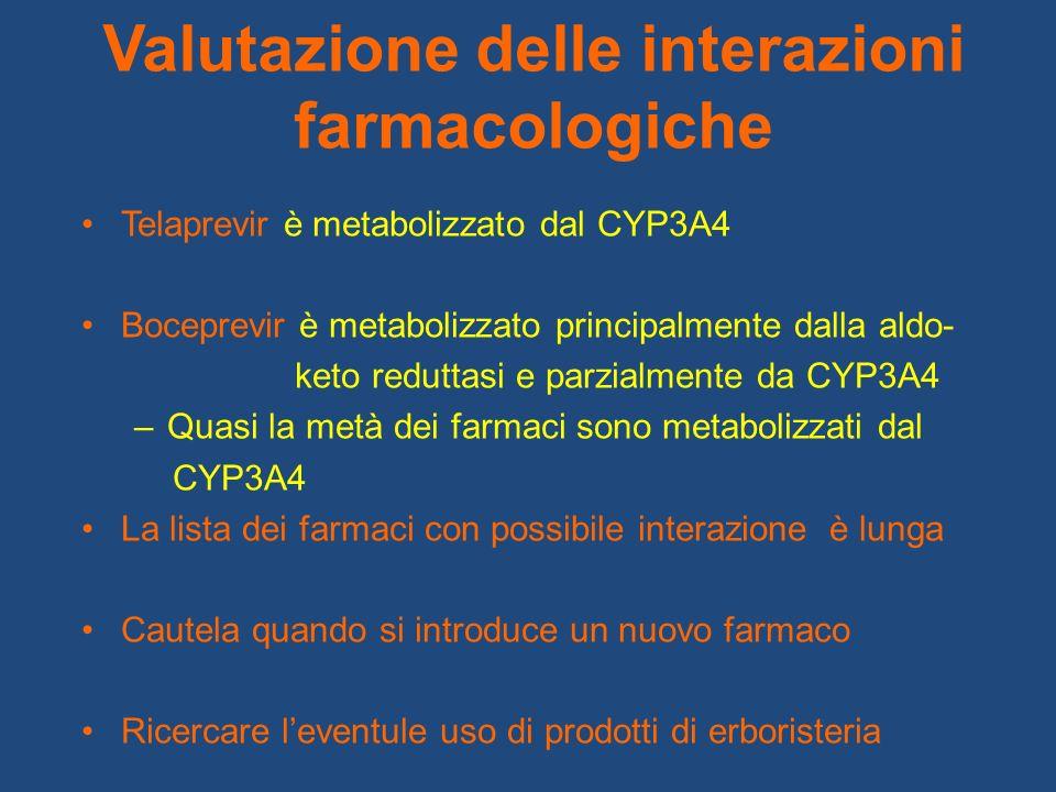 Valutazione delle interazioni farmacologiche Telaprevir è metabolizzato dal CYP3A4 Boceprevir è metabolizzato principalmente dalla aldo- keto reduttas