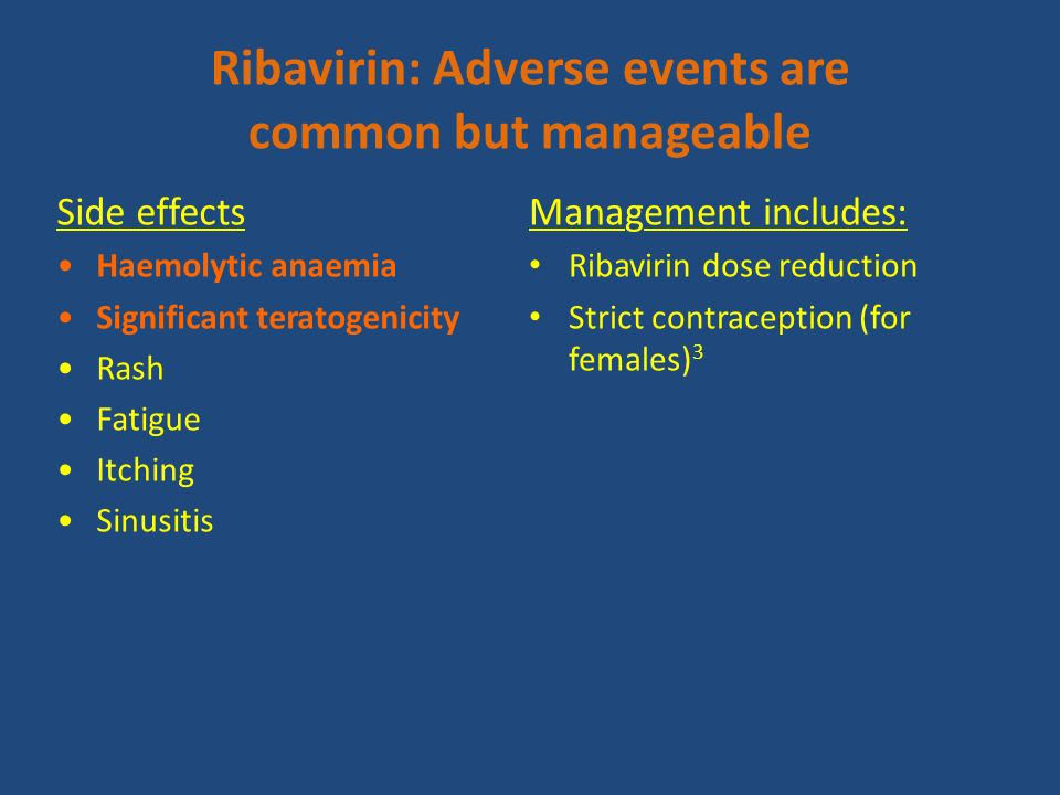 Side effects Haemolytic anaemia Significant teratogenicity Rash Fatigue Itching Sinusitis Management includes: Ribavirin dose reduction Strict contrac