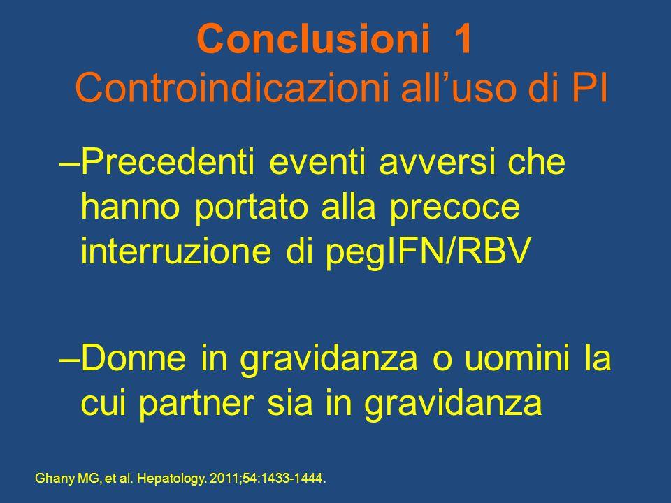 Conclusioni 1 Controindicazioni alluso di PI –Precedenti eventi avversi che hanno portato alla precoce interruzione di pegIFN/RBV –Donne in gravidanza