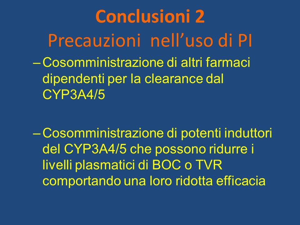 Conclusioni 2 Precauzioni nelluso di PI –Cosomministrazione di altri farmaci dipendenti per la clearance dal CYP3A4/5 –Cosomministrazione di potenti i