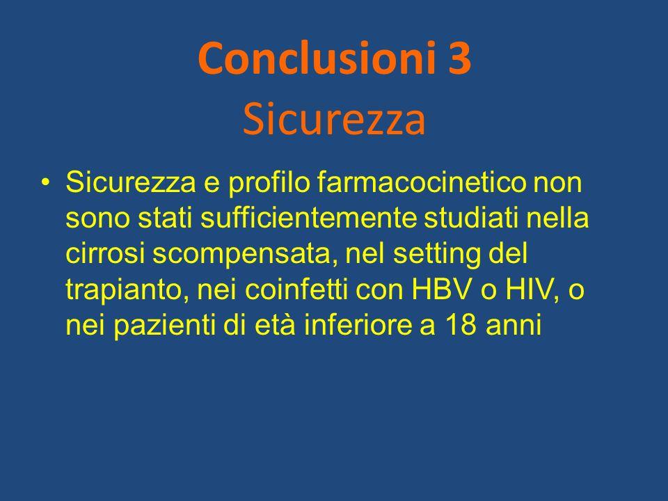 Conclusioni 3 Sicurezza Sicurezza e profilo farmacocinetico non sono stati sufficientemente studiati nella cirrosi scompensata, nel setting del trapia