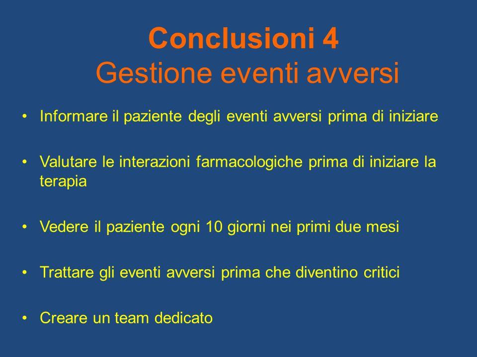Conclusioni 4 Gestione eventi avversi Informare il paziente degli eventi avversi prima di iniziare Valutare le interazioni farmacologiche prima di ini