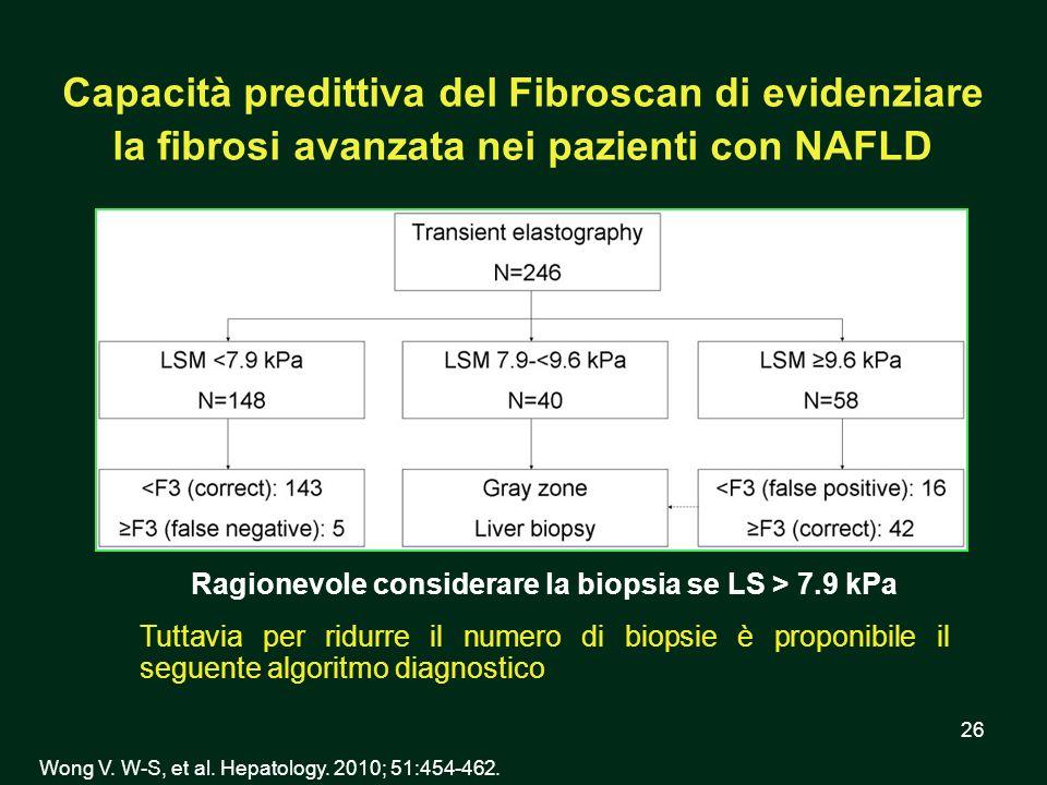 26 Capacità predittiva del Fibroscan di evidenziare la fibrosi avanzata nei pazienti con NAFLD Wong V. W-S, et al. Hepatology. 2010; 51:454-462. Ragio