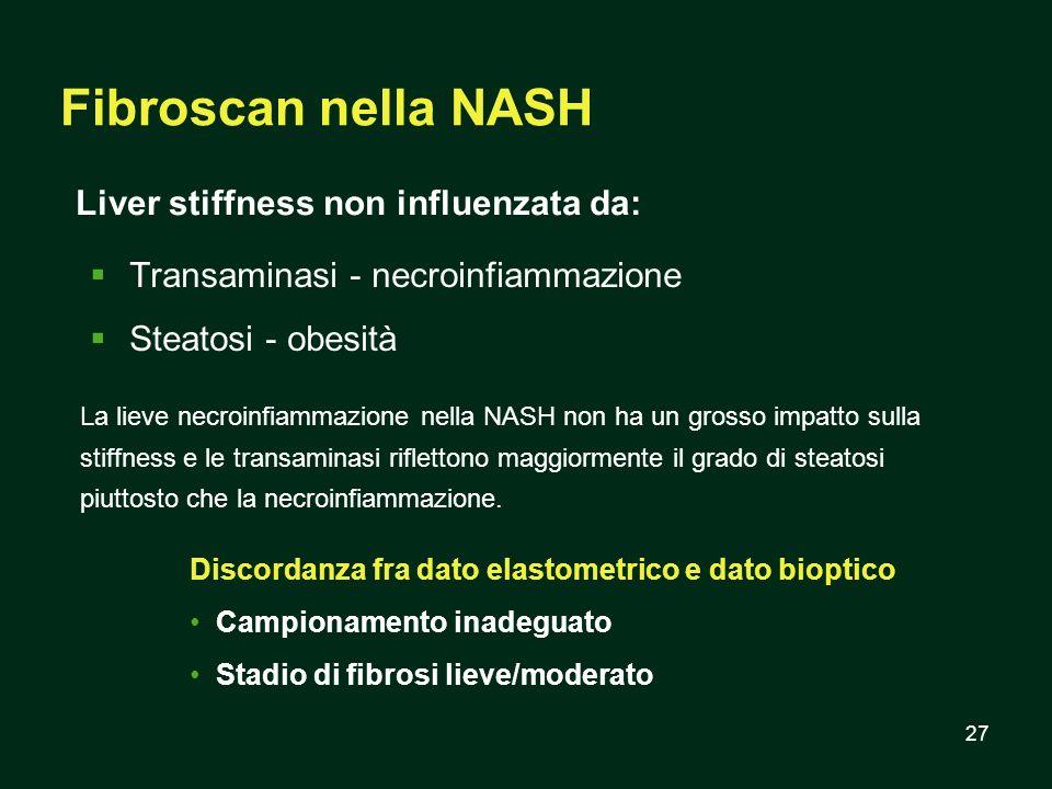 27 Fibroscan nella NASH Transaminasi - necroinfiammazione Steatosi - obesità Liver stiffness non influenzata da: Discordanza fra dato elastometrico e
