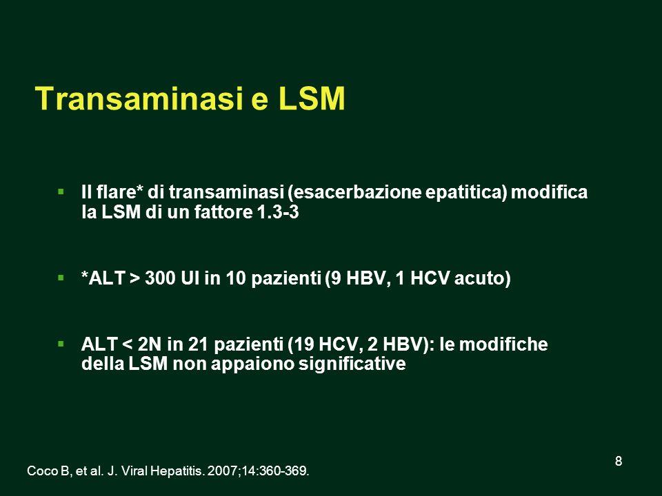 8 Transaminasi e LSM Il flare* di transaminasi (esacerbazione epatitica) modifica la LSM di un fattore 1.3-3 *ALT > 300 UI in 10 pazienti (9 HBV, 1 HC