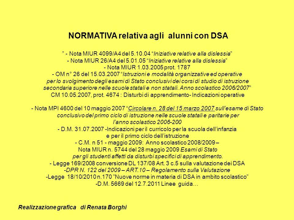 NORMATIVA relativa agli alunni con DSA - Nota MIUR 4099/A4 del 5.10.04 Iniziative relative alla dislessia - Nota MIUR 26/A4 del 5.01.05 Iniziative rel