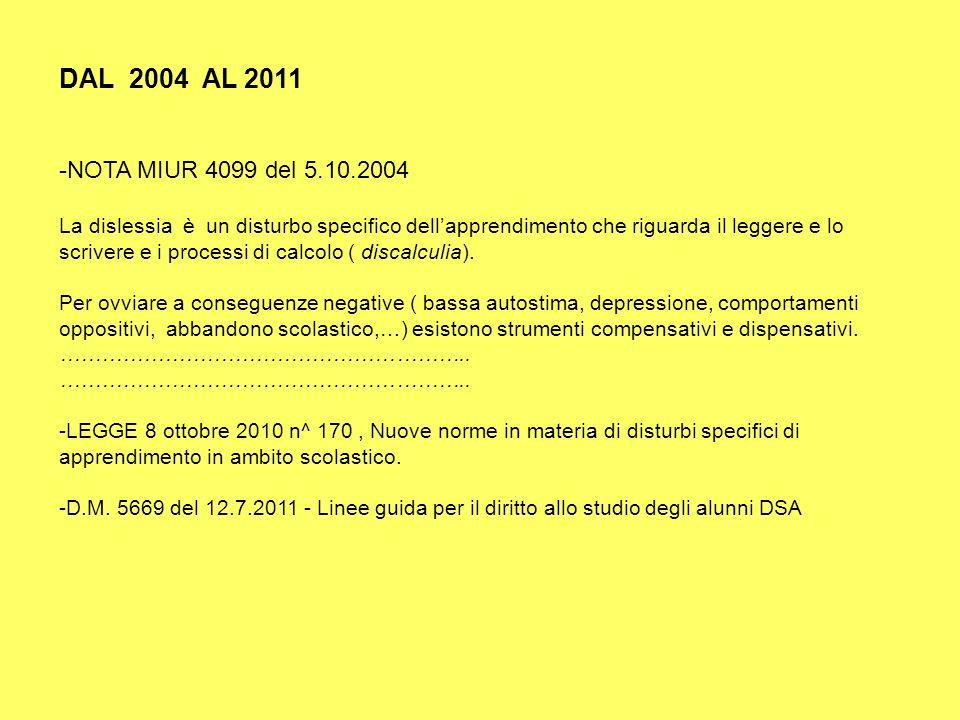 DAL 2004 AL 2011 -NOTA MIUR 4099 del 5.10.2004 La dislessia è un disturbo specifico dellapprendimento che riguarda il leggere e lo scrivere e i proces