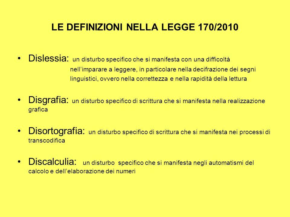 LE DEFINIZIONI NELLA LEGGE 170/2010 Dislessia: un disturbo specifico che si manifesta con una difficoltà nellimparare a leggere, in particolare nella