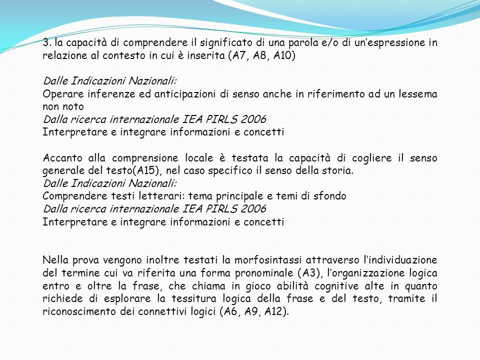3. la capacità di comprendere il significato di una parola e/o di unespressione in relazione al contesto in cui è inserita (A7, A8, A10) Dalle Indicaz