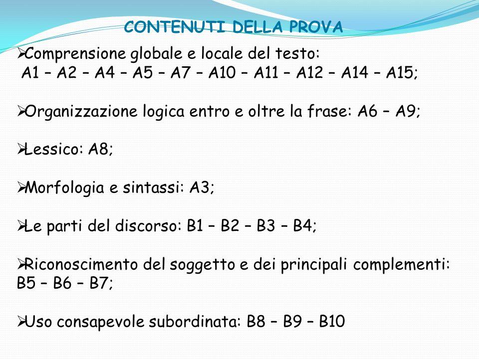 Comprensione globale e locale del testo: A1 – A2 – A4 – A5 – A7 – A10 – A11 – A12 – A14 – A15; Organizzazione logica entro e oltre la frase: A6 – A9;