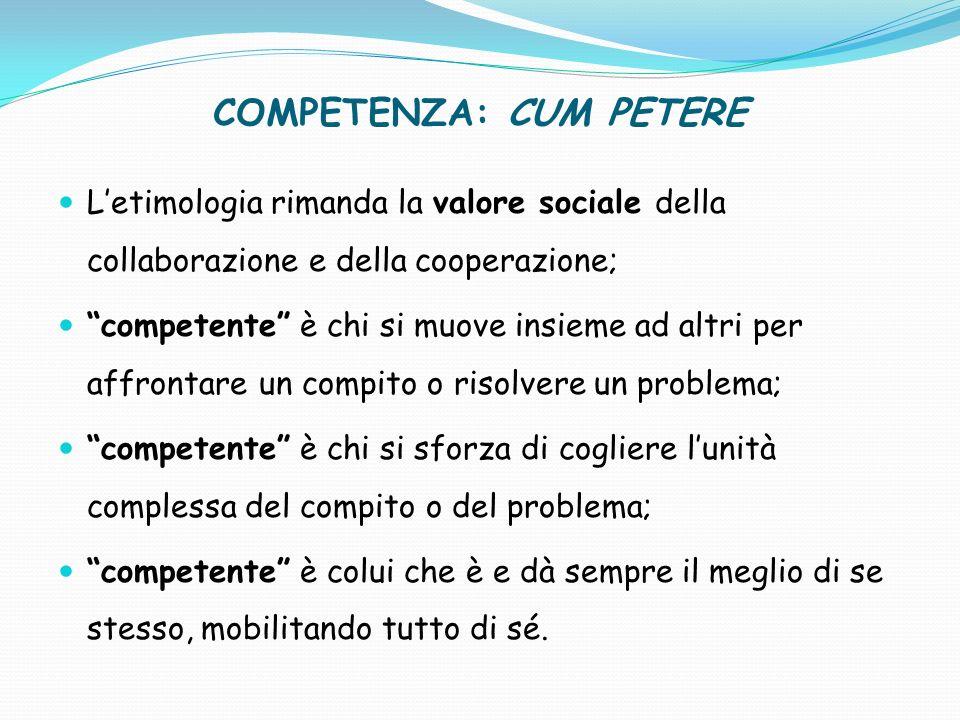 Le competenze scolastiche Le competenze contengono in sé elementi diversi, riconducibili alle sfere: dei saperi/conoscenze/knowledge; del saper fare/abilità/skills; dellessere/atteggiamenti/attitudes.
