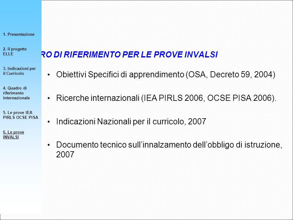 Obiettivi Specifici di apprendimento (OSA, Decreto 59, 2004) Ricerche internazionali (IEA PIRLS 2006, OCSE PISA 2006). Indicazioni Nazionali per il cu