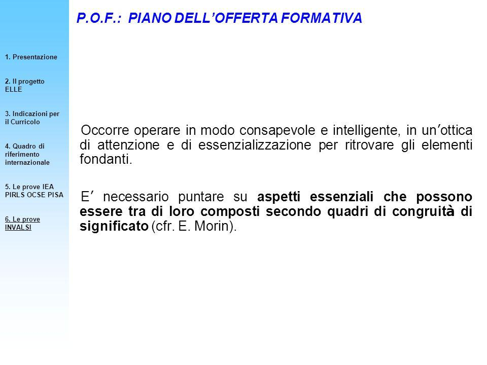P.O.F.: PIANO DELLOFFERTA FORMATIVA Occorre operare in modo consapevole e intelligente, in un ottica di attenzione e di essenzializzazione per ritrova