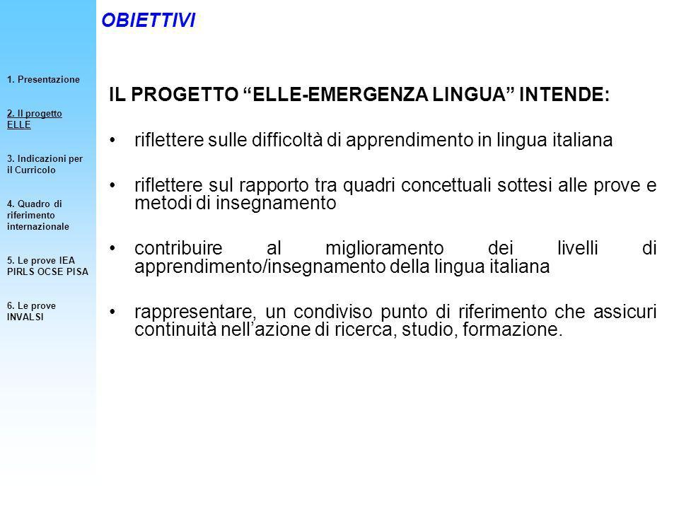 IL PROGETTO ELLE-EMERGENZA LINGUA INTENDE: riflettere sulle difficoltà di apprendimento in lingua italiana riflettere sul rapporto tra quadri concettu