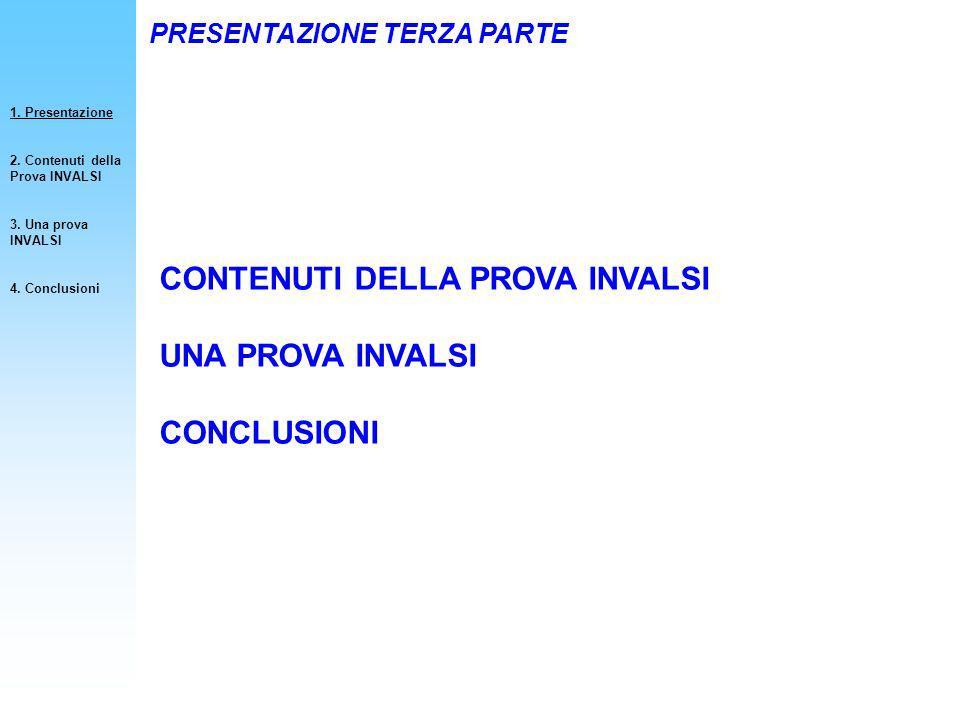 CONTENUTI DELLA PROVA INVALSI UNA PROVA INVALSI CONCLUSIONI PRESENTAZIONE TERZA PARTE 1. Presentazione 2. Contenuti della Prova INVALSI 3. Una prova I