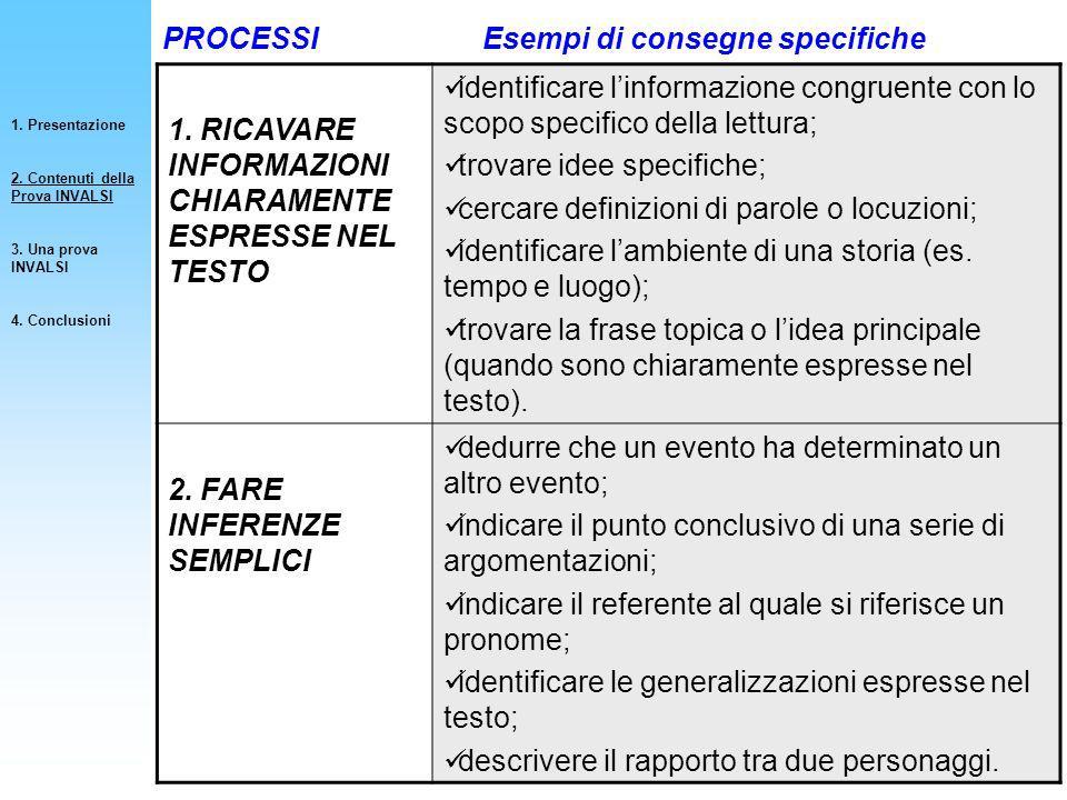 1. RICAVARE INFORMAZIONI CHIARAMENTE ESPRESSE NEL TESTO identificare linformazione congruente con lo scopo specifico della lettura; trovare idee speci