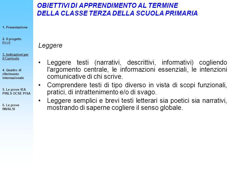 Obiettivi Specifici di apprendimento (OSA, Decreto 59, 2004) Ricerche internazionali (IEA PIRLS 2006, OCSE PISA 2006).