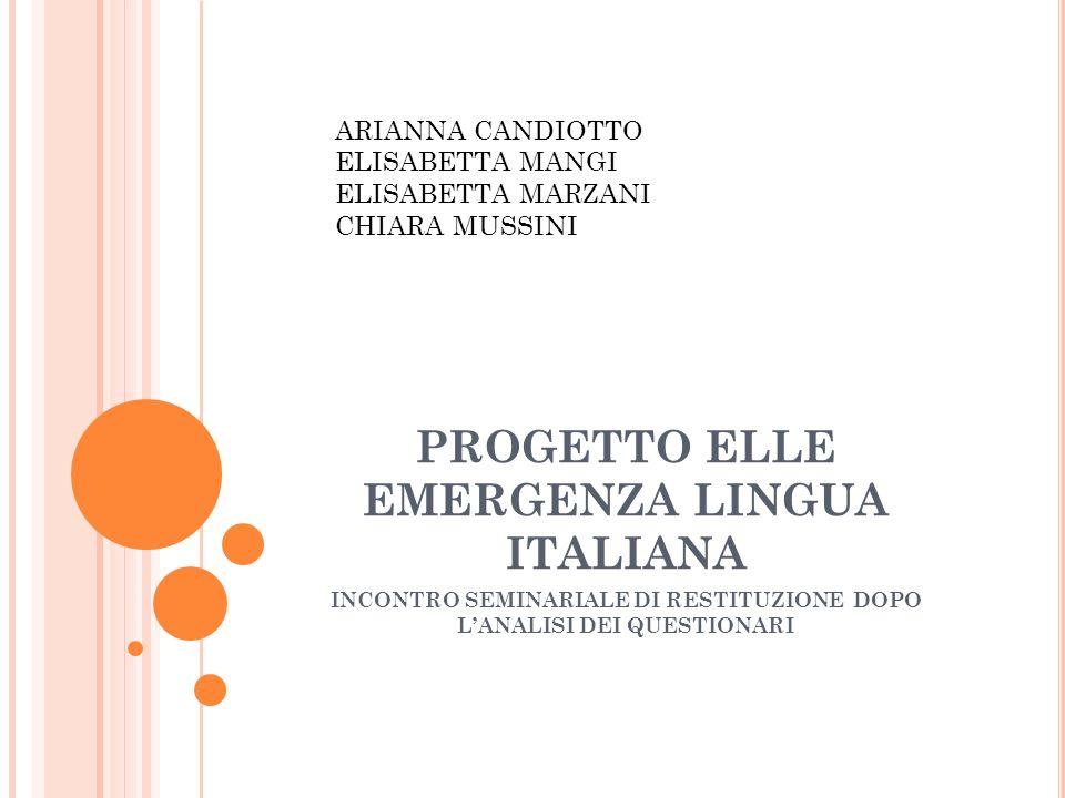 PROGETTO ELLE EMERGENZA LINGUA ITALIANA INCONTRO SEMINARIALE DI RESTITUZIONE DOPO LANALISI DEI QUESTIONARI ARIANNA CANDIOTTO ELISABETTA MANGI ELISABETTA MARZANI CHIARA MUSSINI