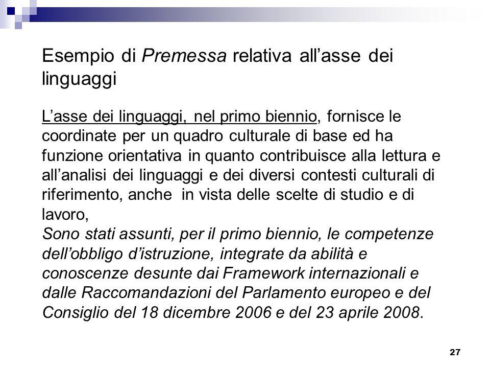 27 Esempio di Premessa relativa allasse dei linguaggi Lasse dei linguaggi, nel primo biennio, fornisce le coordinate per un quadro culturale di base e