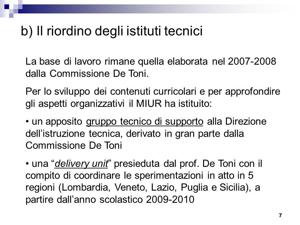 7 b) Il riordino degli istituti tecnici La base di lavoro rimane quella elaborata nel 2007-2008 dalla Commissione De Toni. Per lo sviluppo dei contenu