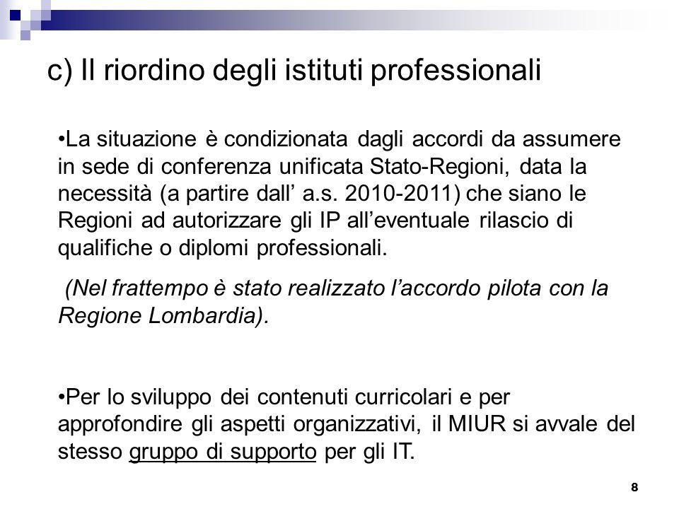 8 c) Il riordino degli istituti professionali La situazione è condizionata dagli accordi da assumere in sede di conferenza unificata Stato-Regioni, da