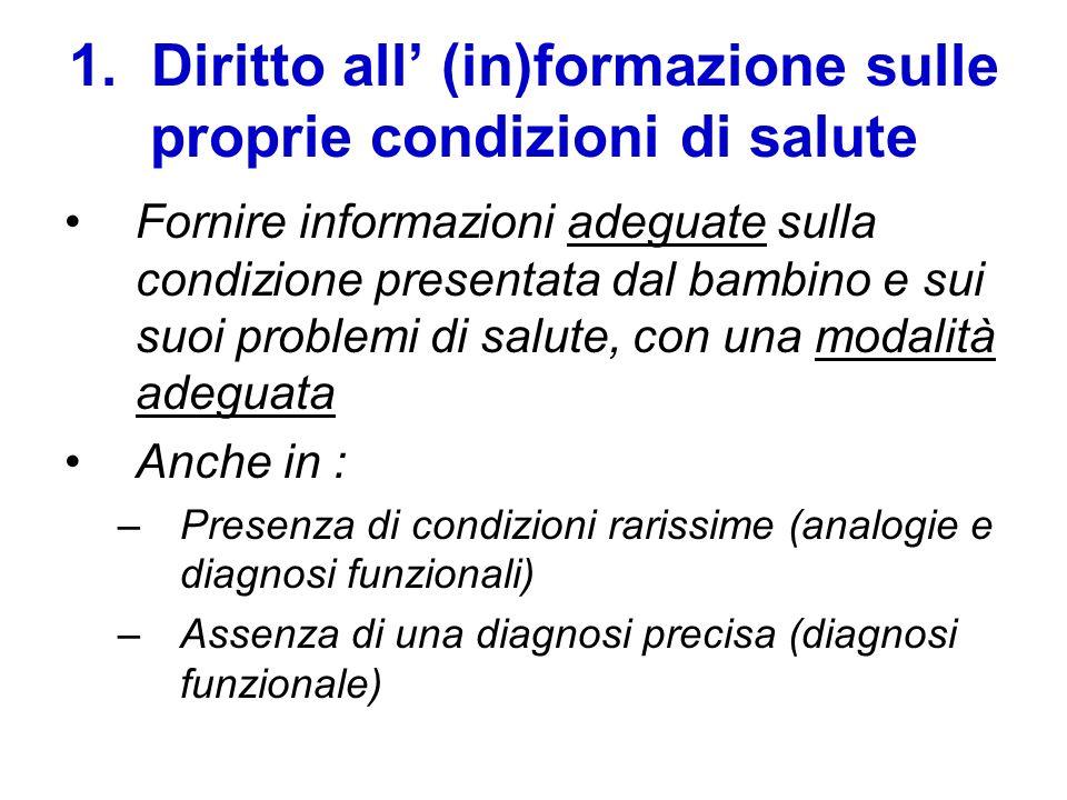 1. Diritto all (in)formazione sulle proprie condizioni di salute Fornire informazioni adeguate sulla condizione presentata dal bambino e sui suoi prob