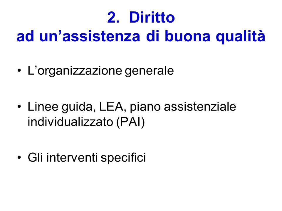 2. Diritto ad unassistenza di buona qualità Lorganizzazione generale Linee guida, LEA, piano assistenziale individualizzato (PAI) Gli interventi speci