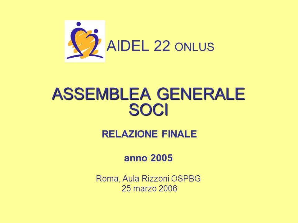 AIDEL 22 ONLUS ASSEMBLEA GENERALE SOCI RELAZIONE FINALE anno 2005 Roma, Aula Rizzoni OSPBG 25 marzo 2006