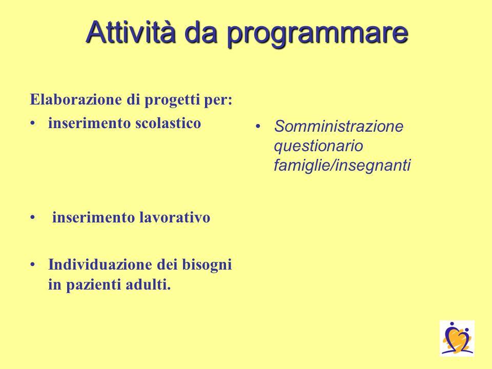 Attività da programmare Elaborazione di progetti per: inserimento scolastico inserimento lavorativo Individuazione dei bisogni in pazienti adulti.