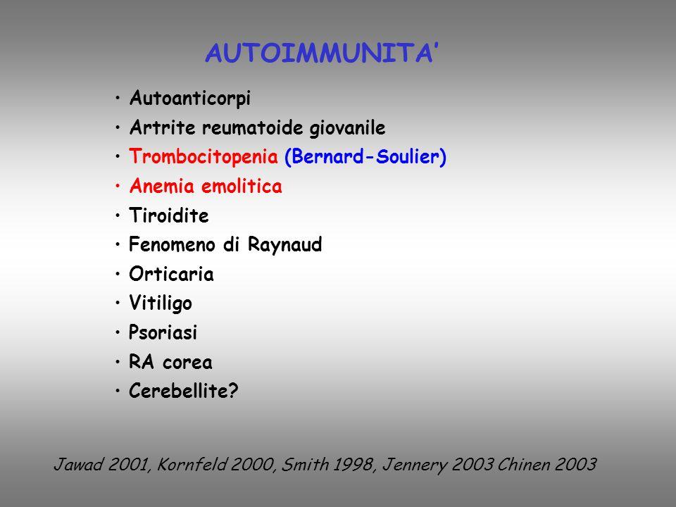 Autoanticorpi Artrite reumatoide giovanile Trombocitopenia (Bernard-Soulier) Anemia emolitica Tiroidite Fenomeno di Raynaud Orticaria Vitiligo Psoriasi RA corea Cerebellite.