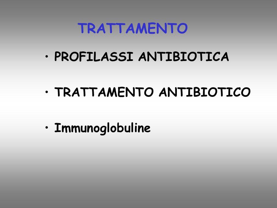 TRATTAMENTO PROFILASSI ANTIBIOTICA TRATTAMENTO ANTIBIOTICO Immunoglobuline