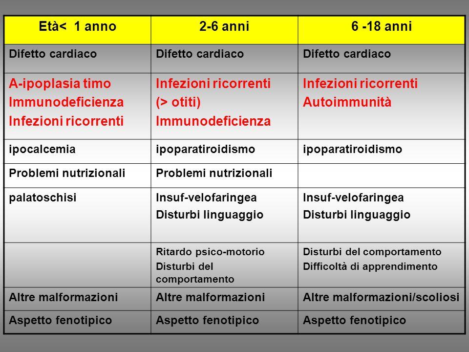 Età< 1 anno2-6 anni6 -18 anni Difetto cardiaco A-ipoplasia timo Immunodeficienza Infezioni ricorrenti (> otiti) Immunodeficienza Infezioni ricorrenti