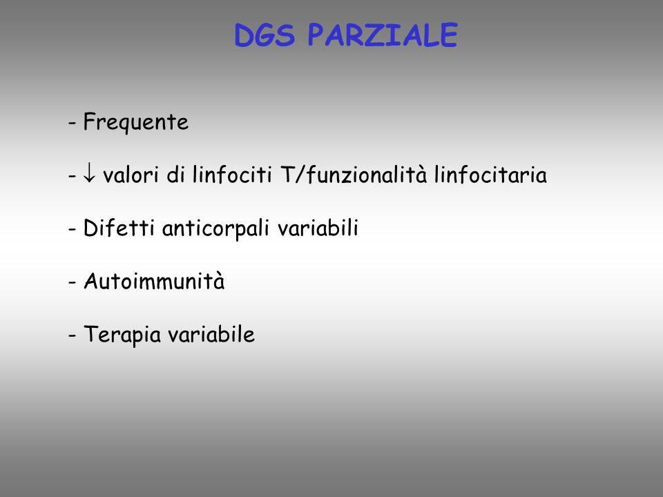 DGS PARZIALE - Frequente - valori di linfociti T/funzionalità linfocitaria - Difetti anticorpali variabili - Autoimmunità - Terapia variabile