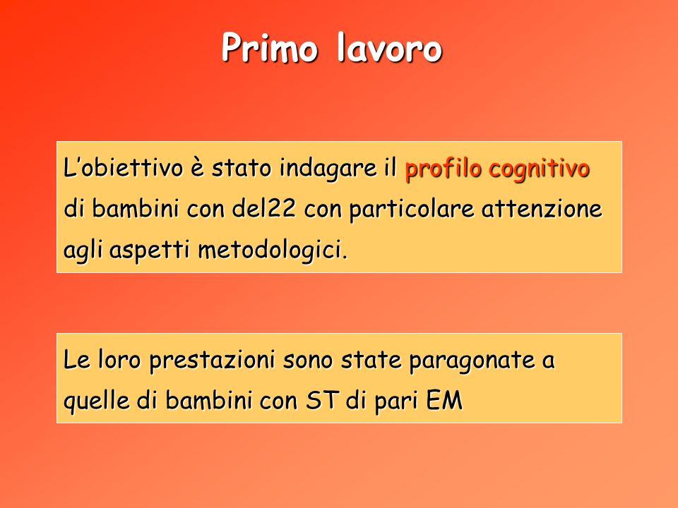 Primo lavoro Lobiettivo è stato indagare il profilo cognitivo di bambini con del22 con particolare attenzione agli aspetti metodologici.
