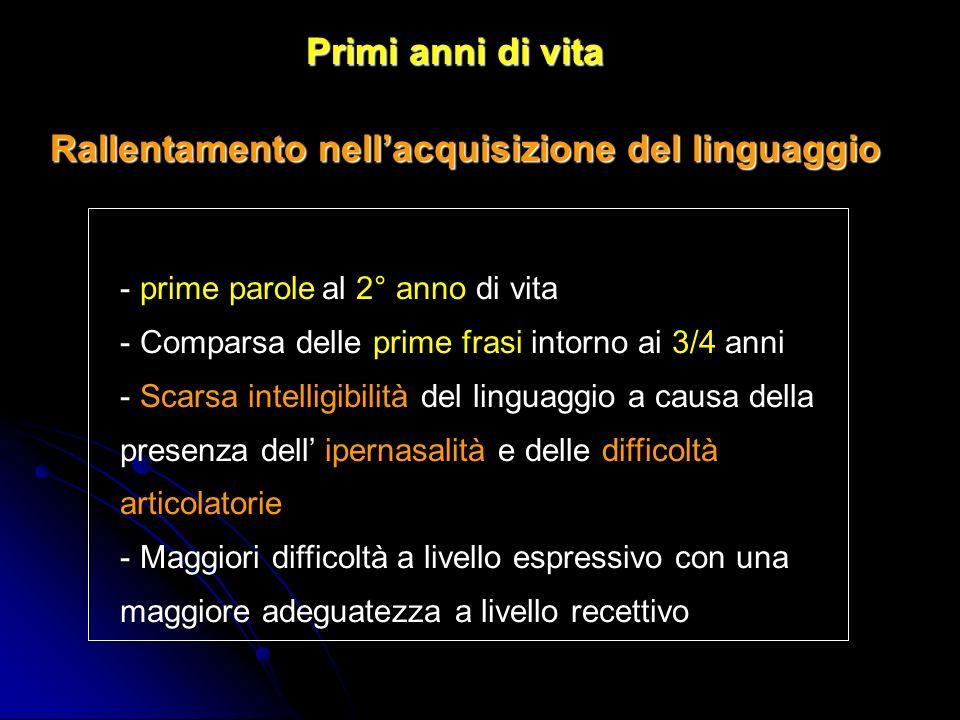 Il ritardo di linguaggio è più grave del ritardo motorio e si esprime attraverso difficoltà specifiche sia a carico della comprensione, sia della produzione.