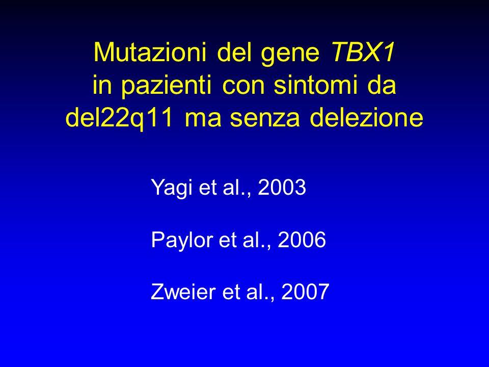 Mutazioni del gene TBX1 in pazienti con sintomi da del22q11 ma senza delezione Yagi et al., 2003 Paylor et al., 2006 Zweier et al., 2007