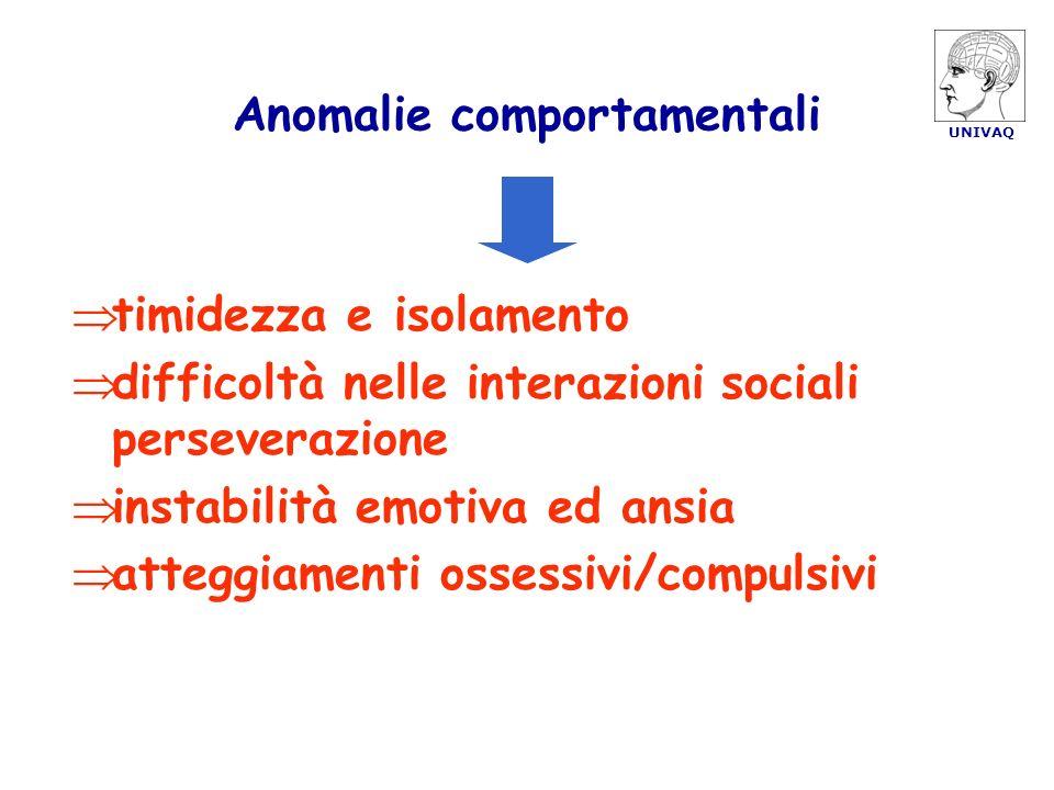 UNIVAQ Anomalie comportamentali timidezza e isolamento difficoltà nelle interazioni sociali perseverazione instabilità emotiva ed ansia atteggiamenti