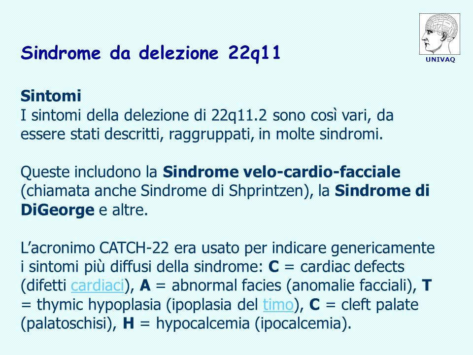 UNIVAQ Sindrome da delezione 22q11 Sintomi I sintomi della delezione di 22q11.2 sono così vari, da essere stati descritti, raggruppati, in molte sindr
