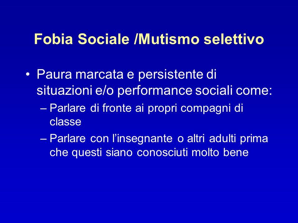 Fobia Sociale /Mutismo selettivo Paura marcata e persistente di situazioni e/o performance sociali come: –Parlare di fronte ai propri compagni di clas