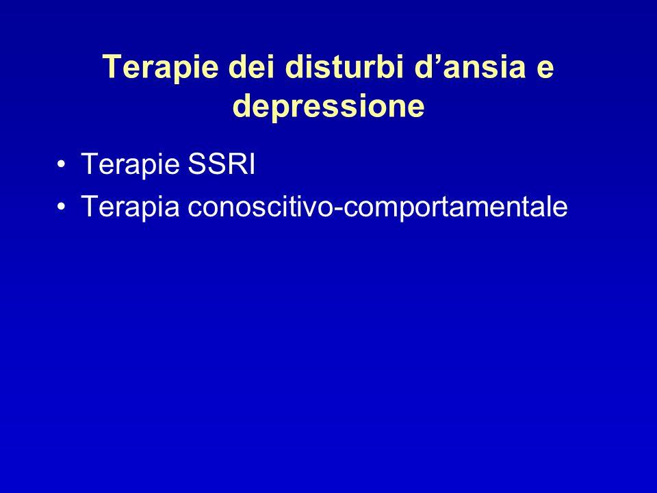Terapie dei disturbi dansia e depressione Terapie SSRI Terapia conoscitivo-comportamentale