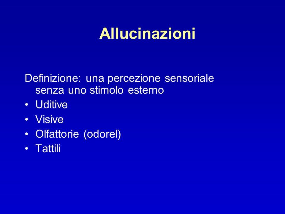 Definizione: una percezione sensoriale senza uno stimolo esterno Uditive Visive Olfattorie (odorel) Tattili
