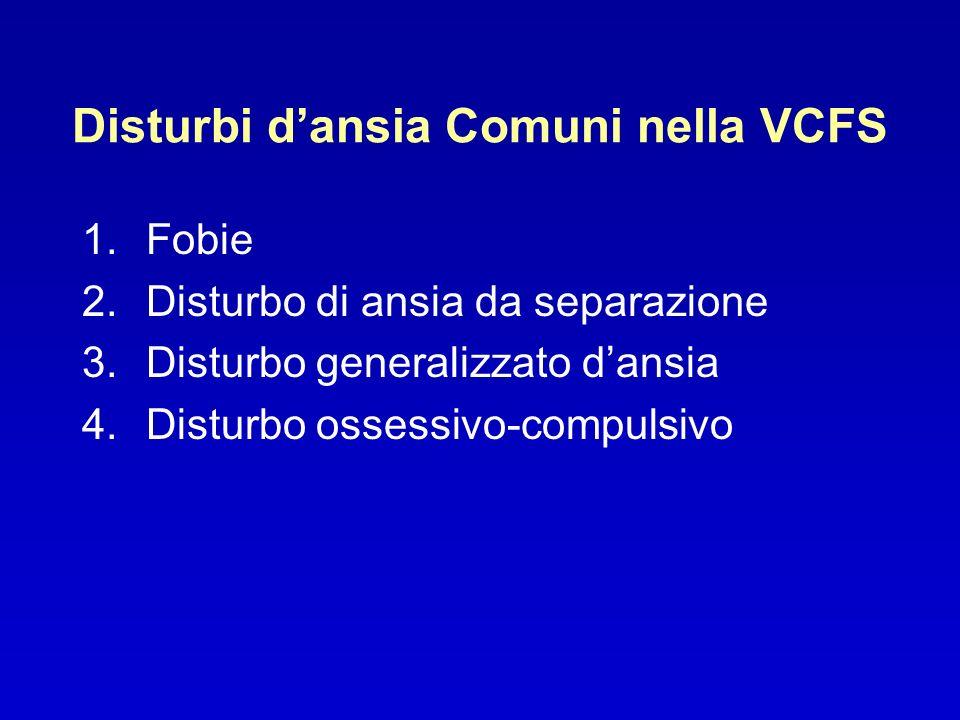 Disturbi dansia Comuni nella VCFS 1.Fobie 2.Disturbo di ansia da separazione 3.Disturbo generalizzato dansia 4.Disturbo ossessivo-compulsivo