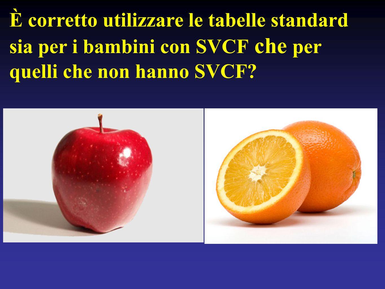 È corretto utilizzare le tabelle standard sia per i bambini con SVCF che per quelli che non hanno SVCF?