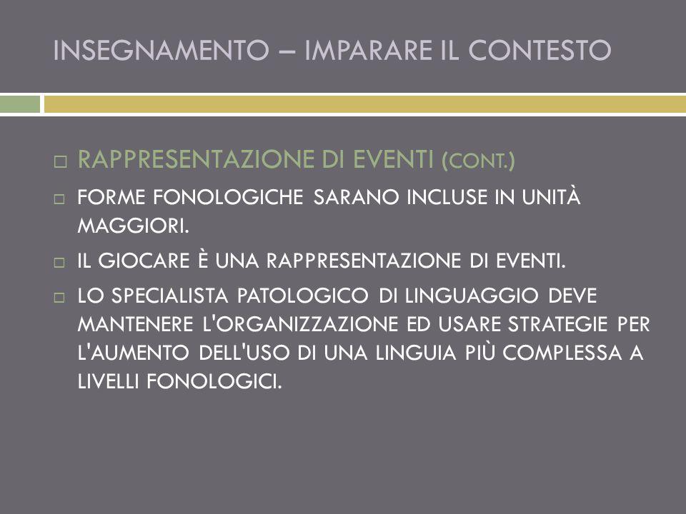 INSEGNAMENTO – IMPARARE IL CONTESTO RAPPRESENTAZIONE DI EVENTI ( CONT.
