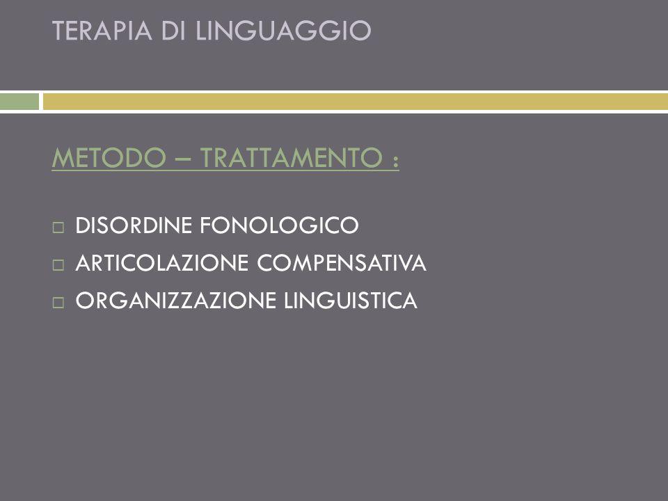TERAPIA DI LINGUAGGIO METODO – TRATTAMENTO : DISORDINE FONOLOGICO ARTICOLAZIONE COMPENSATIVA ORGANIZZAZIONE LINGUISTICA