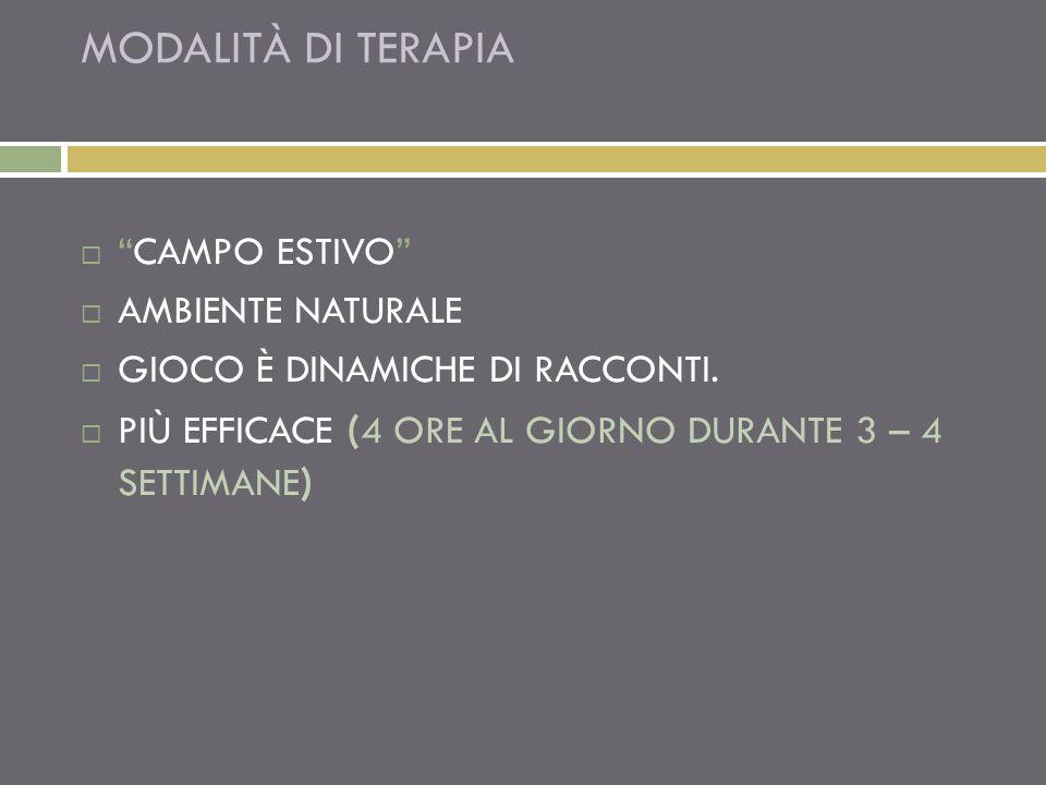 MODALITÀ DI TERAPIA CAMPO ESTIVO AMBIENTE NATURALE GIOCO È DINAMICHE DI RACCONTI. PIÙ EFFICACE ( 4 ORE AL GIORNO DURANTE 3 – 4 SETTIMANE )
