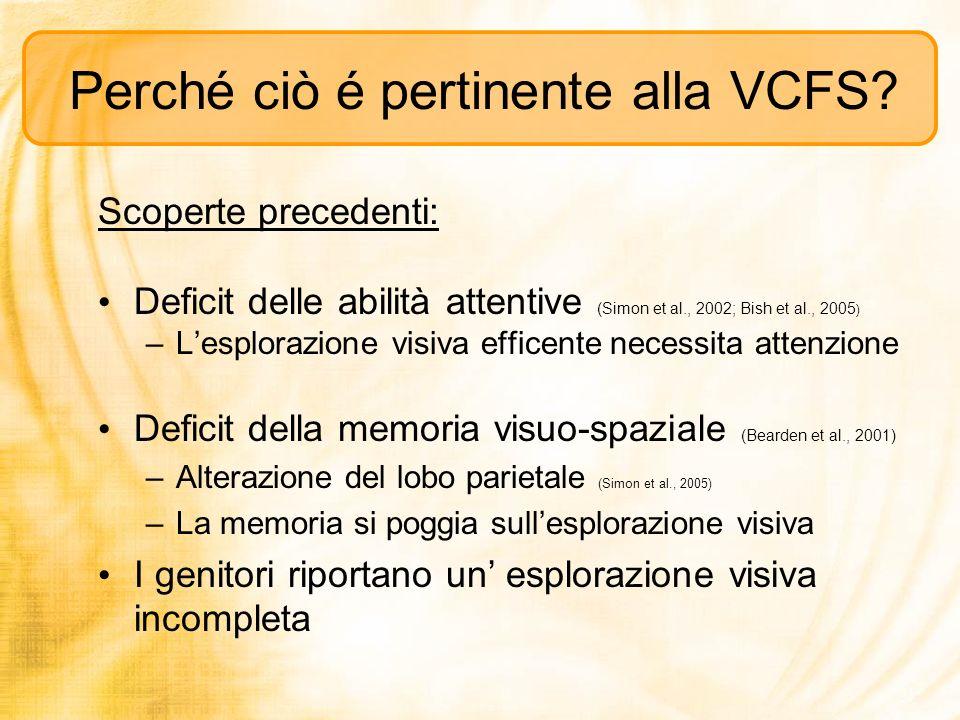 Perché ciò é pertinente alla VCFS? Scoperte precedenti: Deficit delle abilità attentive (Simon et al., 2002; Bish et al., 2005 ) –Lesplorazione visiva