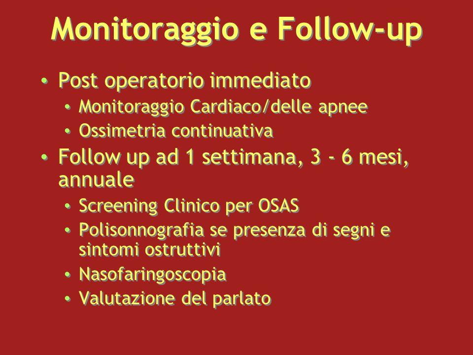 Monitoraggio e Follow-up Post operatorio immediato Monitoraggio Cardiaco/delle apnee Ossimetria continuativa Follow up ad 1 settimana, 3 - 6 mesi, ann