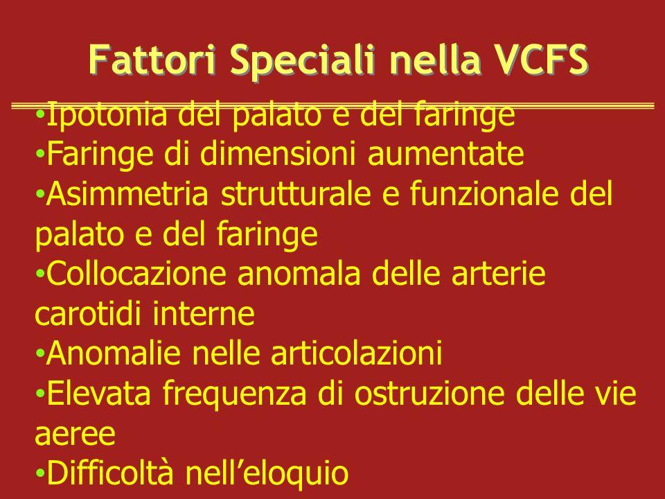 Fattori Speciali nella VCFS Ipotonia del palato e del faringe Faringe di dimensioni aumentate Asimmetria strutturale e funzionale del palato e del far
