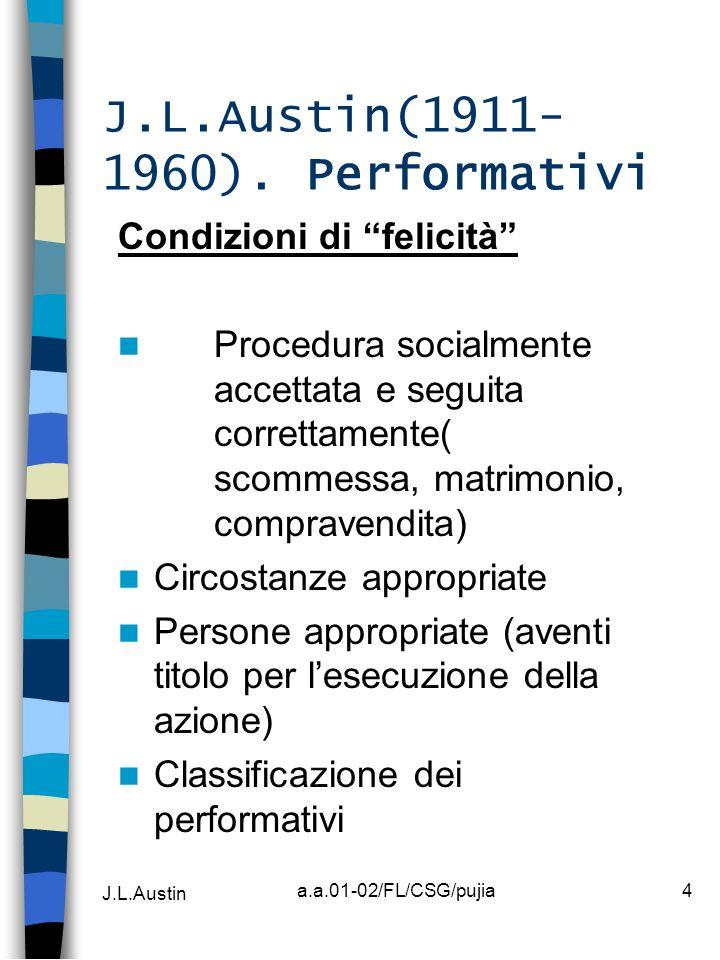 J.L.Austin a.a.01-02/FL/CSG/pujia4 J.L.Austin(1911- 1960). Performativi Condizioni di felicità Procedura socialmente accettata e seguita correttamente